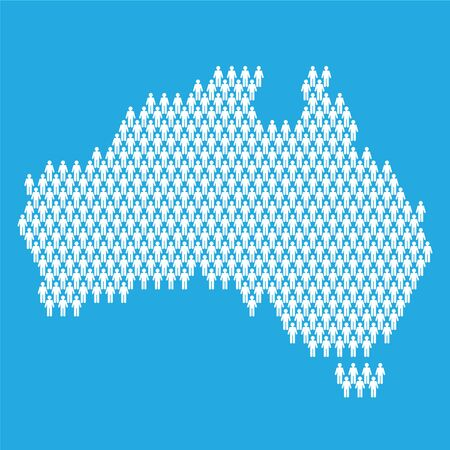 Australia population. Statistic map made from stick figure people