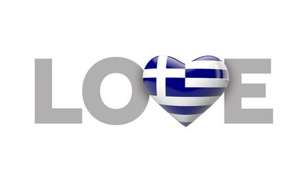Love Greece heart shaped flag with love word. 3D Rendering