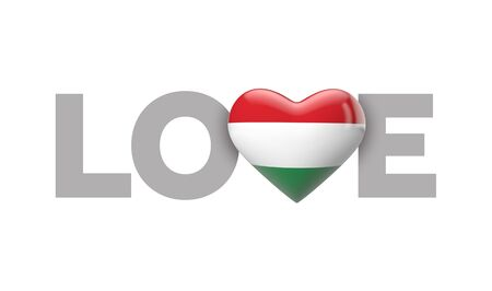 Love Hungary heart shaped flag with love word. 3D Rendering
