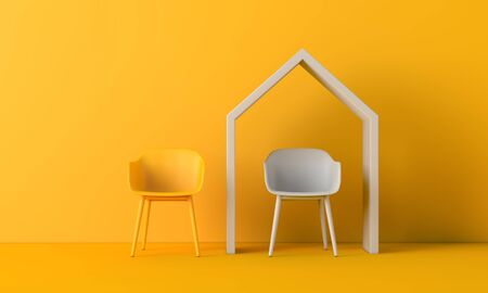 Working from home concept office chair under a house shape. 3D Rendering
