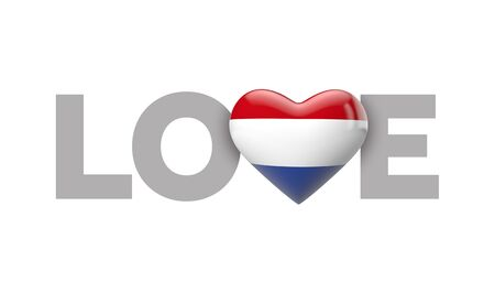 Love Netherlands heart shaped flag with love word. 3D Rendering 版權商用圖片