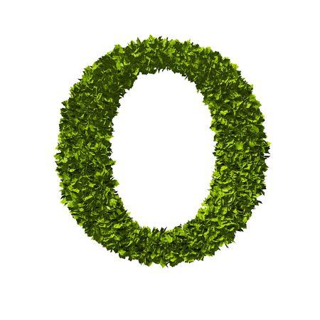 Letter O nature leaf alphabet. 3D Rendering