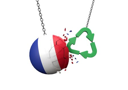 Green recycle symbol crashing into a France flag ball. 3D Rendering