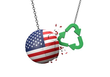 Green recycle symbol crashing into a USA flag ball. 3D Rendering Banque d'images