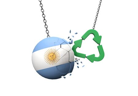 Green recycle symbol crashing into an Argentina flag ball. 3D Rendering Banque d'images