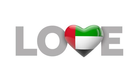 Love UAE heart shaped flag with love word. 3D Rendering