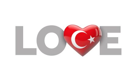 Love Turkey heart shaped flag with love word. 3D Rendering
