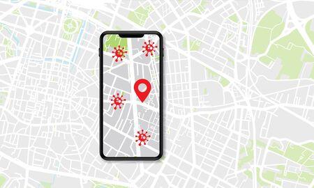 Smartphone showing a coronavirus covid-19 contatct tracing tracking app