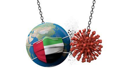 Coronavirus smashing into the world wearing a UAE face mask. 3D Render 版權商用圖片 - 147693471