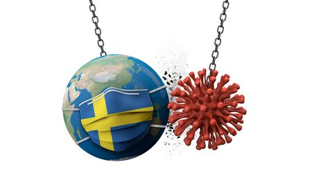 Coronavirus smashing into the world wearing a Sweden face mask. 3D Render