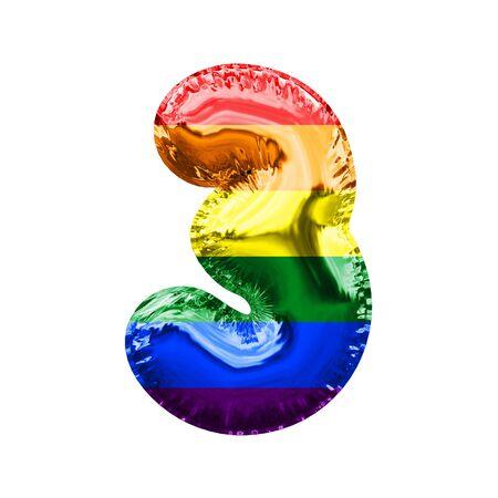 Number 3 pride flag shiny foil balloon. 3D Rendering