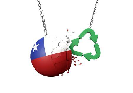 Green recycle symbol crashing into a Chile flag ball. 3D Rendering 版權商用圖片