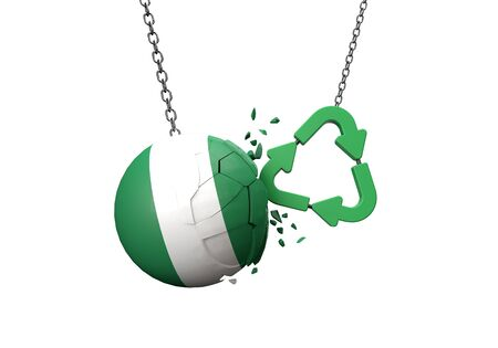 Green recycle symbol crashing into a Nigeria flag ball. 3D Rendering