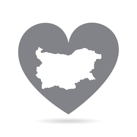 Bulgaria country map inside a grey love heart. National pride 向量圖像