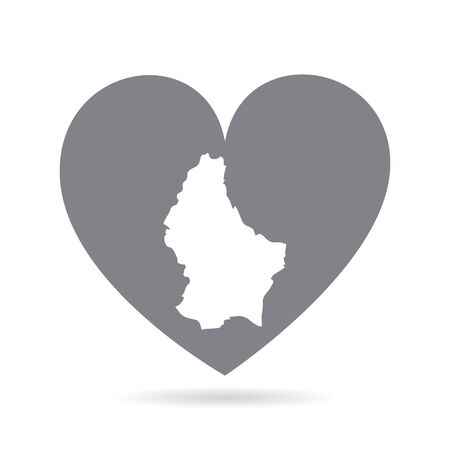 Luxembourg country map inside a grey love heart. National pride Vectores