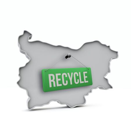 Bulgaria 3D map with green recycle sign. 3D Rendering