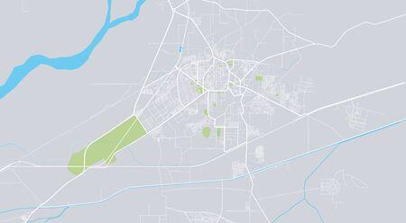 Urban vector city map of Bahawalpur, Pakistan