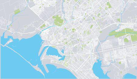 Urban vector city map of Karachi, Pakistan