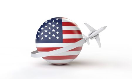 Travel to USA concept. Airplane flying around flag. 3D Rendering. Stock Photo