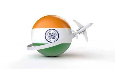 Travel to India concept. Airplane flying around flag. 3D Rendering. Stock Photo