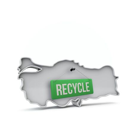 Turkey 3D map with green recycle sign. 3D Rendering