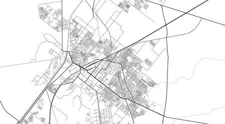 Urban vector city map of Sargodha, Pakistan, Asia.