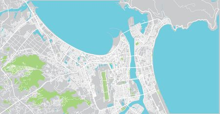 Urban vector city map of Da Nang, Vietnam