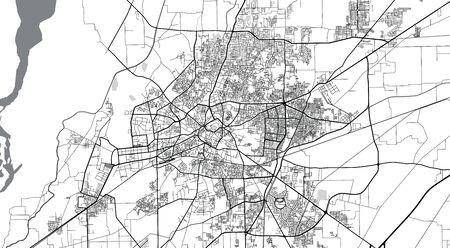 Urban vector city map of Multan, Pakistan, Asia