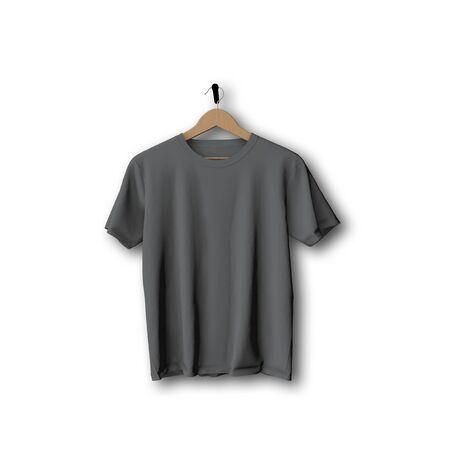 Grey t-shirt mock up hanging against a plain background 3D Rendering