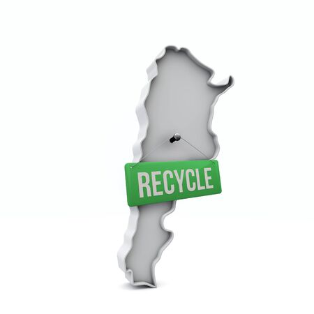 Argentina 3D map with green recycle sign. 3D Rendering