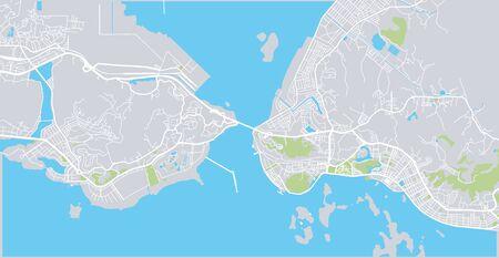 Urban vector city map of Halong, Vietnam