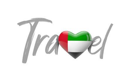 Travel UAE love heart flag. 3D Rendering 스톡 콘텐츠