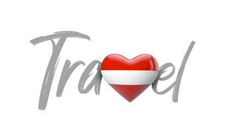Travel Austria love heart flag. 3D Rendering