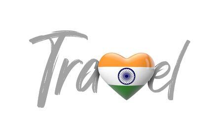 Travel India love heart flag. 3D Rendering