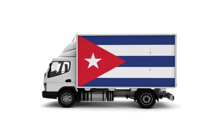 Delivery van with Cuba flag. logistics concept. High quality 3d illustration 写真素材 - 150645380