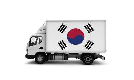 Delivery van with South Korea flag. logistics concept. High quality 3d illustration