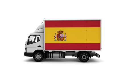 Delivery van with Spain flag. logistics concept. High quality 3d illustration