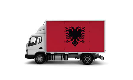 Delivery van with Albania flag. logistics concept