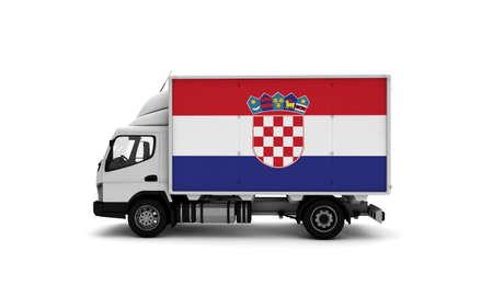 Delivery van with Croatia flag. logistics concept. High quality 3d illustration