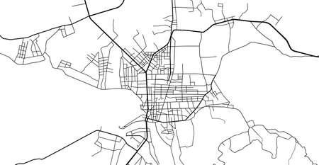 Urban vector city map of Kon Tum, Vietnam.