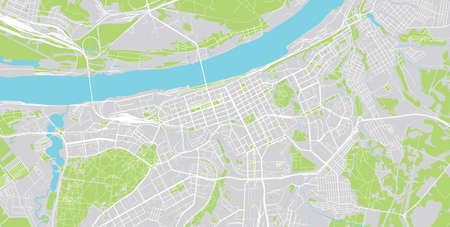 Urban vector city map of Perm, Russia.