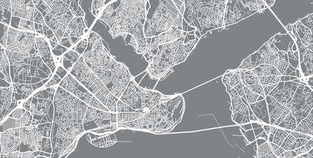 Urban vector city map of Istanbul, Turkey. Vecteurs
