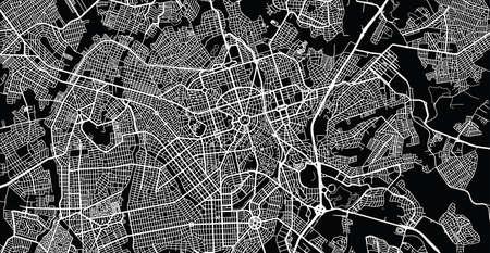 Urban vector city map of Gioania, Brazil.