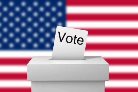 USA election ballot box and voting paper. 3D Rendering