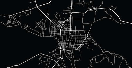 Vector aerial city road map of Kon Tum, Vietnam Ilustracje wektorowe