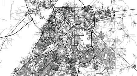 Urban city map of Lahore, Pakistan, Asia