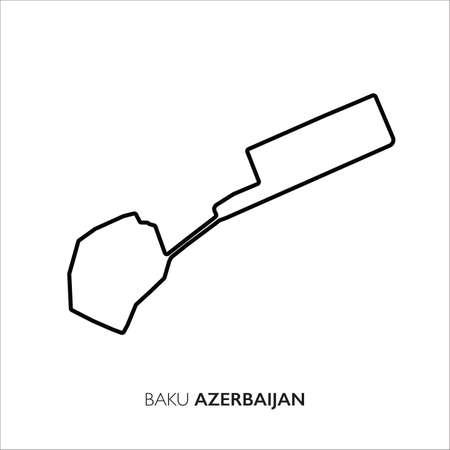 Baku City circuit, Azerbaijan. Motorsport race track vector map