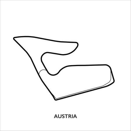 Austria circuit. Motorsport race track vector map