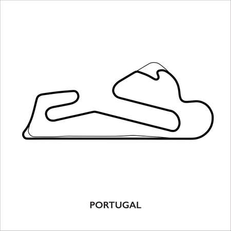 Lisbon circuit, Portugal. Motorsport race track vector map 免版税图像 - 154283155