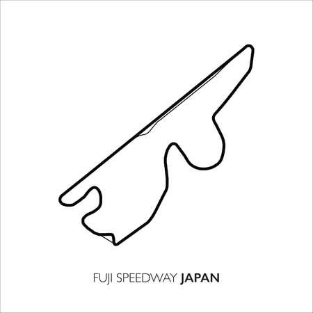 Fuji Speedway circuit, Japan. Motorsport race track vector map 矢量图像